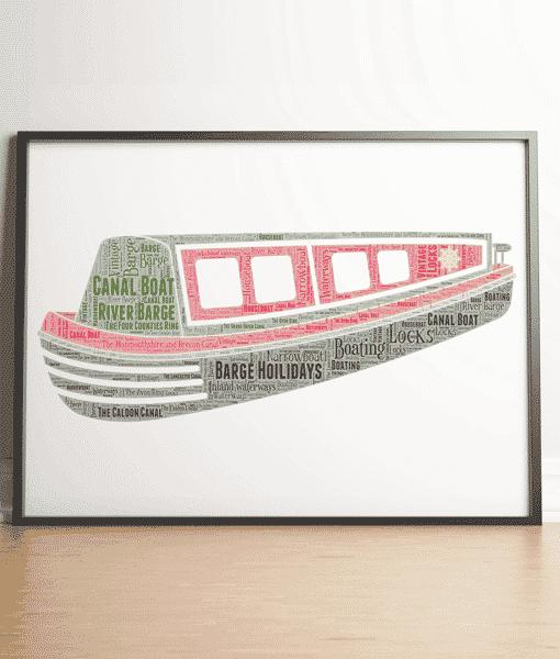 Personalised Narrow Boat Word Art Print Travel