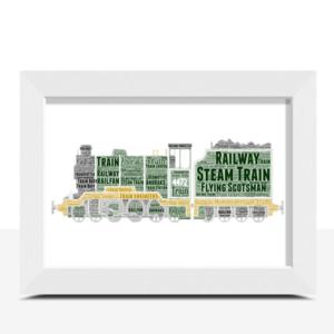 Travel Personalised Steam Train Word Art