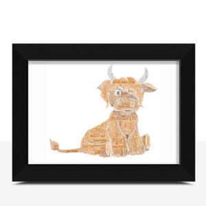 Personalised Highland Cow – Word Art Print Animal Prints