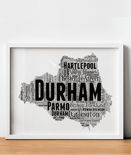 Personalised County Durham Word Art Map Travel