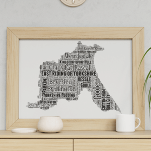 Personalised East Riding of Yorkshire – Word Art Map Travel
