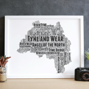 Personalised Tyne and Wear – Word Art Map Travel