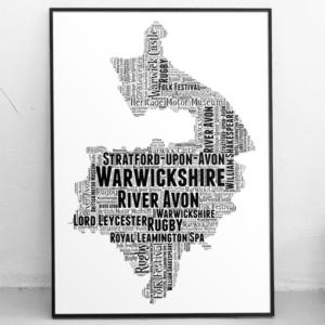 Personalised Warwickshire Word Art Map Travel