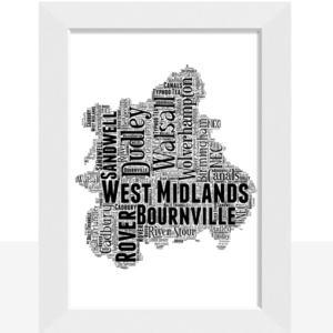 Personalised West Midlands – Word Art Map Travel