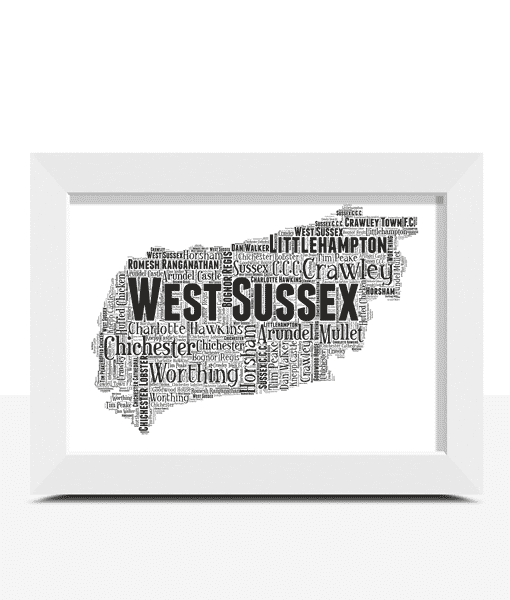Personalised West Sussex Word Art Map Travel