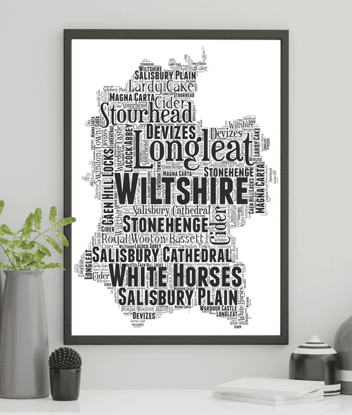 Personalised Wiltshire Word Art Map Travel