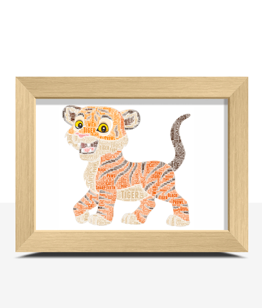 Personalised Tiger Cub Word Art Print Animal Prints