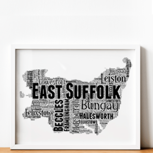 Personalised East Suffolk Word Art Map Travel