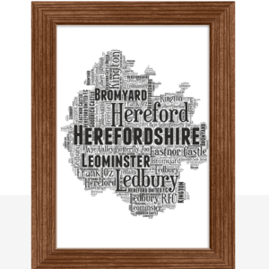 Personalised Herefordshire Word Art Map Travel