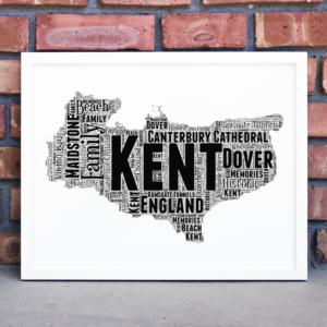 Personalised Kent Word Art Map Travel