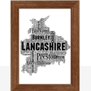 Personalised Lancashire Word Art Map Travel