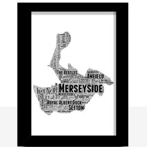 Personalised Merseyside Word Art Map Travel