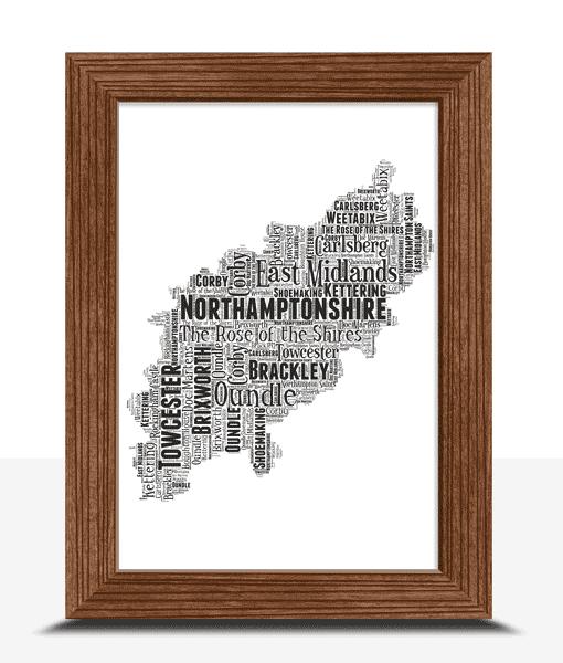Personalised Northamptonshire Word Art Map Travel