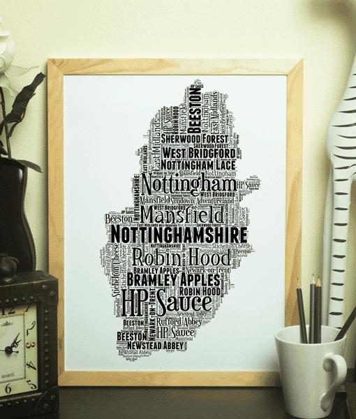 Personalised Nottinghamshire Word Art Map Travel