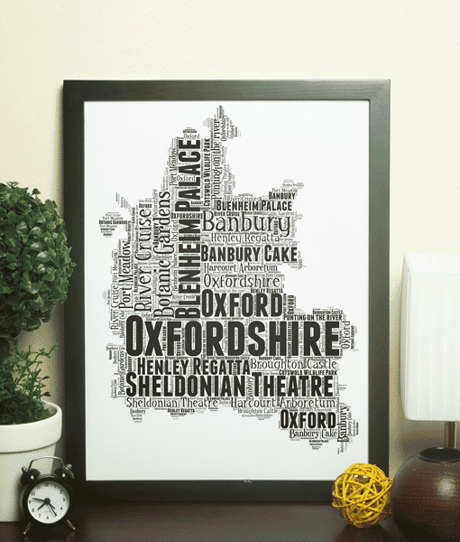 Personalised Oxfordshire Word Art Map Travel