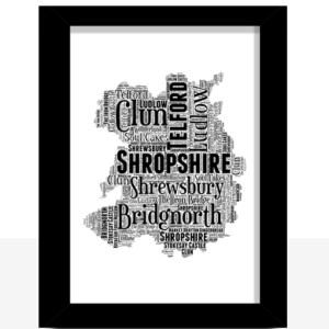 Personalised Shropshire Word Art Map Travel