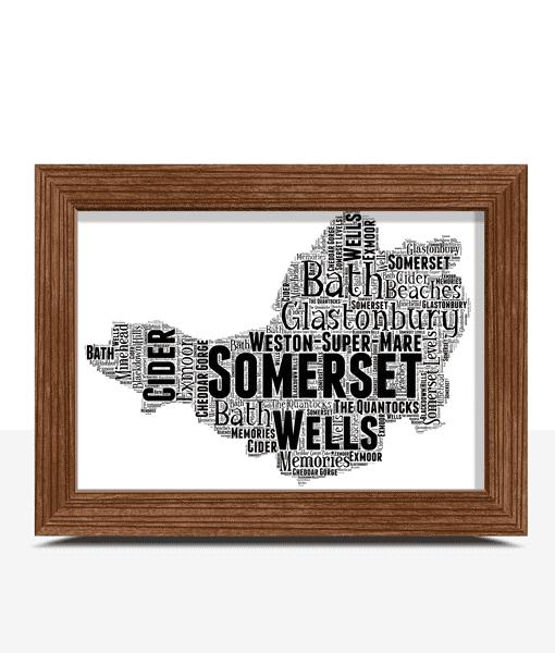 Personalised Somerset Word Art Map Travel