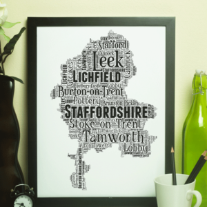 Personalised Staffordshire Word Art Map Travel