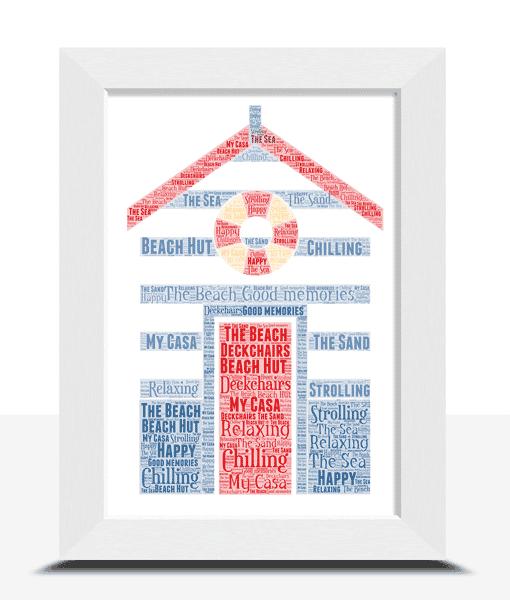 Personalised Beach Hut Word Art Print Travel