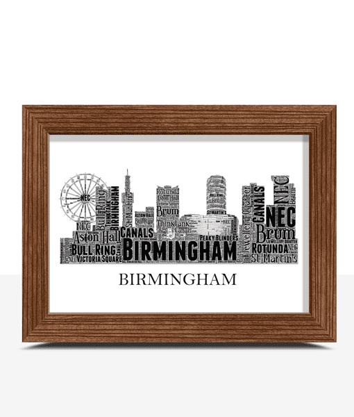 Personalised Birmingham Skyline Word Art City Skyline Prints