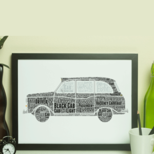 Personalised Black Taxi Cab – Word Art Gift Travel
