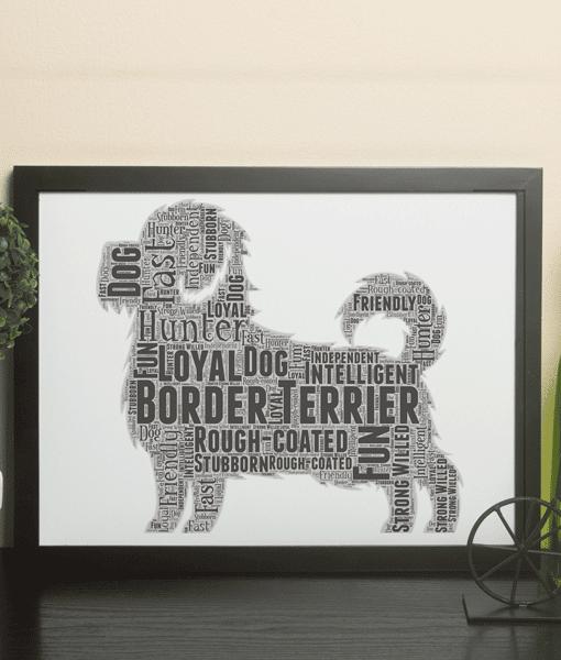 Personalised Border Terrier Dog – Word Art Animal Prints