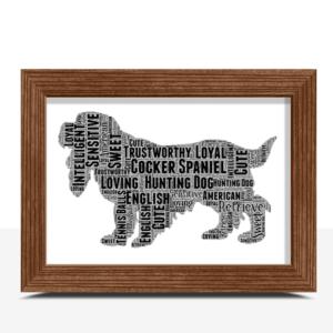 Personalised Cocker Spaniel Dog – Word Art Animal Prints