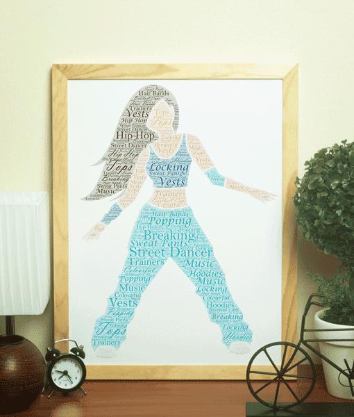Female Street Dancer – Personalised Word Art Gift Dance