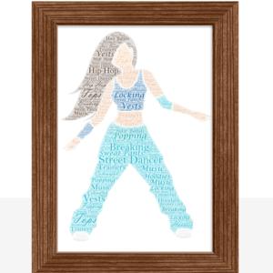 Female Street Dancer – Personalised Word Art Gift Dance Gifts