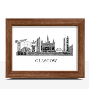 Personalised Glasgow Skyline Word Art City Skyline Prints