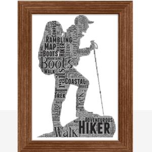 Hiker – Walker – Rambler – Personalised Word Art Gift Sport Gifts
