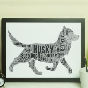 Personalised Husky Dog – Word Art Animal Prints