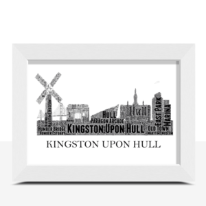 Personalised Kingston upon Hull Skyline Word Art City Skyline Prints