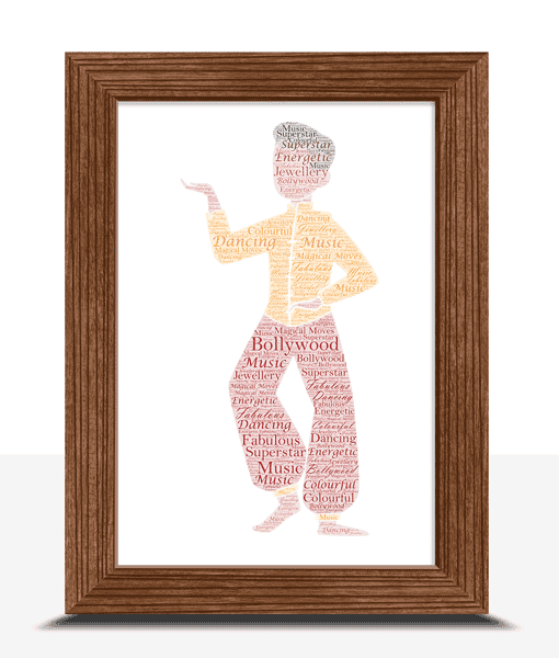 Male Bollywood Dancer – Personalised Word Art Gift Dance