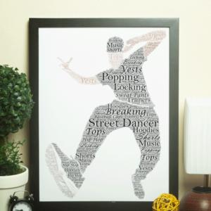 Male Street Dancer – Personalised Word Art Gift Dance