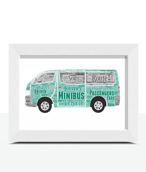 Minibus Word Art – Personalised Minibus Driver Gift Travel