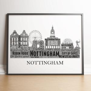 Personalised Nottingham Skyline Word Art City Skyline Prints