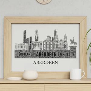 Personalised Aberdeen Skyline Word Art City Skyline Prints