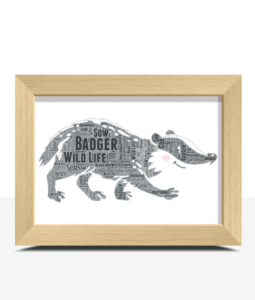 Personalised Badger Word Art Print Animal Prints