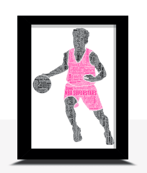 Personalised Basketball Player Word Art Gift Sport