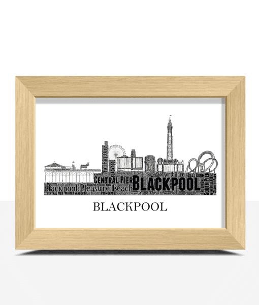 Personalised Blackpool Skyline Word Art City Skyline Prints