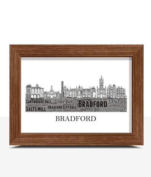 Personalised Bradford Skyline Word Art City Skyline Prints