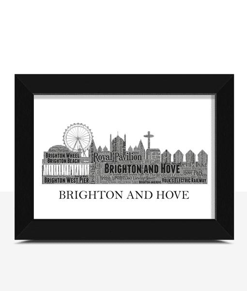 Personalised Brighton and Hove Skyline Word Art City Skyline Prints