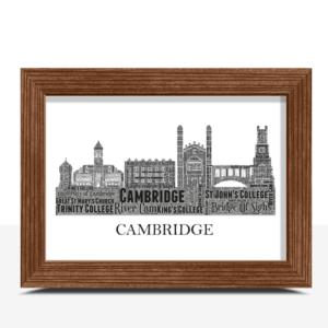 Personalised Cambridge Skyline Word Art City Skyline Prints