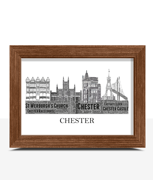 Personalised Chester Skyline Word Art City Skyline Prints