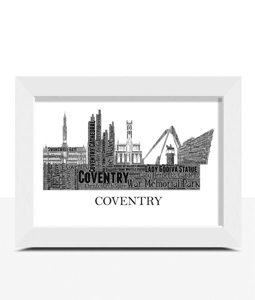 Personalised Coventry Skyline Word Art City Skyline Prints