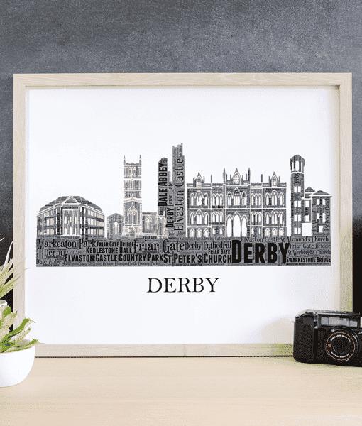 Personalised Derby Skyline Word Art City Skyline Prints