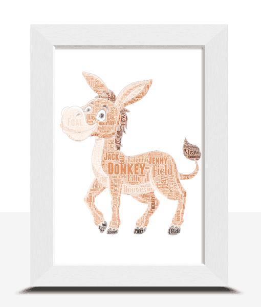 Personalised Donkey Word Art Print Animal Prints