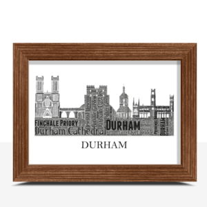 Personalised Durham Skyline Word Art City Skyline Prints
