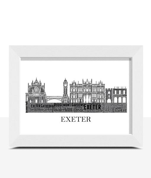 Personalised Exeter Skyline Word Art City Skyline Prints